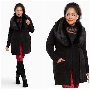 Torrid Black Faux Fur Collar Cardigan